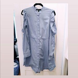 BCBG Cold Shoulder Button Down Dress